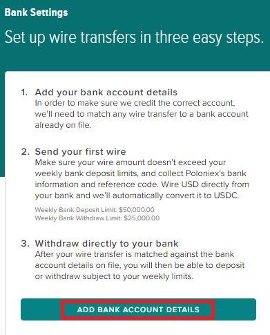 Poloniex Bank Setting Description - 仮想通貨のドルの出金・入金~Poloniex 銀行設定~海外送金する方法